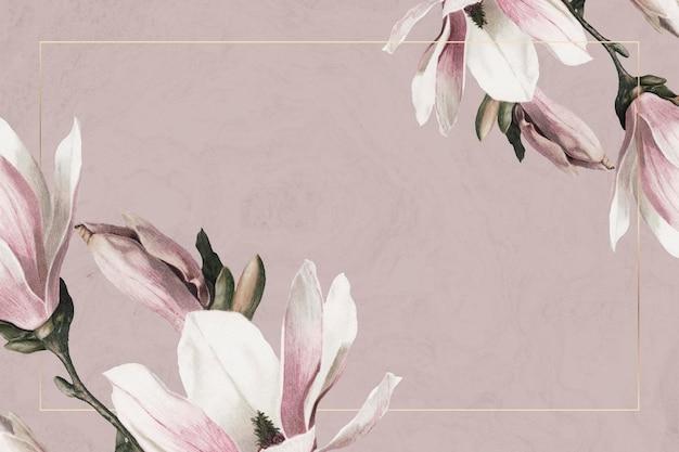Cadre de mariage psd avec bordure de magnolia sur fond marron