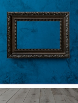 Cadre sur un mur bleu