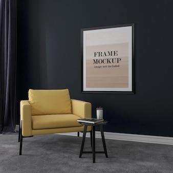 Cadre noir sur mur sombre avec fauteuil jaune à l'intérieur