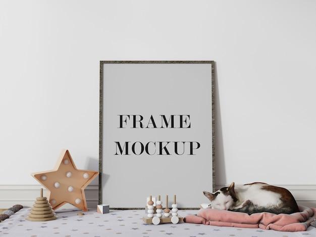 Cadre photo en bois mince à côté de la maquette de rendu 3d de chat endormi