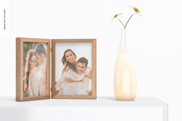 Cadre photo double avec maquette de pot de fleur