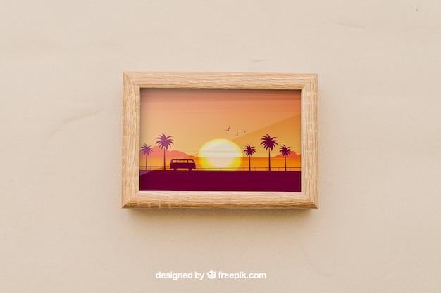 Cadre avec photo d'été