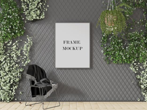 Cadre photo gris entouré de plantes maquette de rendu 3d