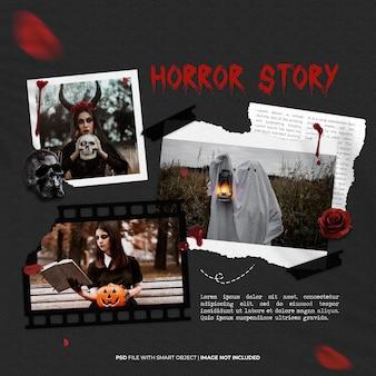 Cadre photo halloween horror story mis en maquette moodboard