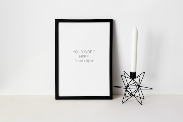Cadre photo maquette avec bougie