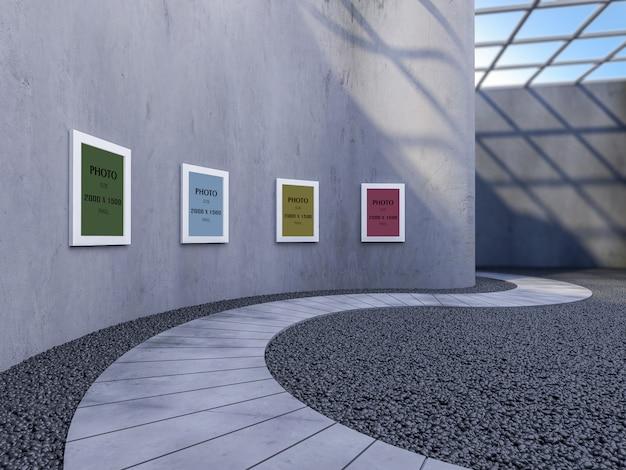 Cadre photo maquette sur un mur incurvé dans une galerie moderne