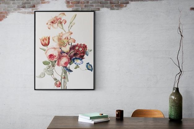 Cadre photo maquette psd suspendu dans l'intérieur de la décoration intérieure du salon loft