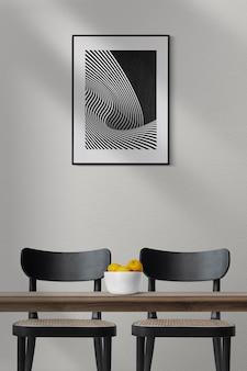 Cadre photo maquette psd suspendu à l'intérieur de la décoration intérieure de la salle à manger moderne