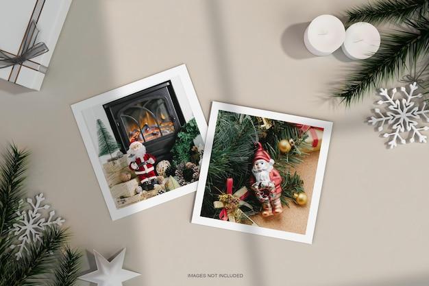 Cadre photo en papier avec décoration de noël et maquette de feuille de pin
