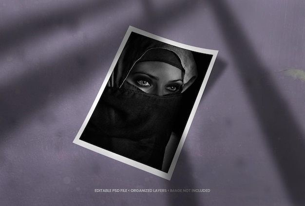 Cadre photo portrait avec superposition d'ombres