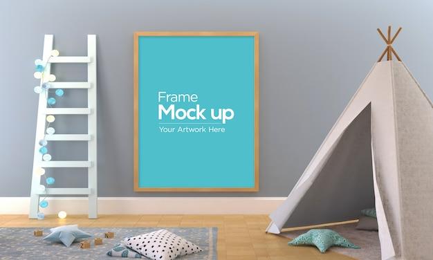 Cadre photo pour enfants mockup design playhouse sleeping dome et échelle