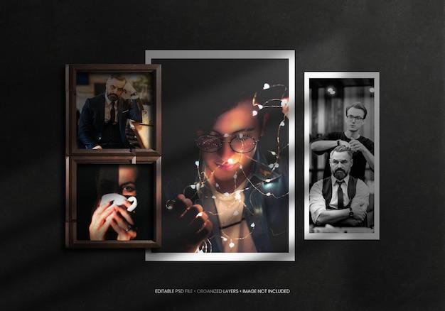 Cadre photo pour tableau d'humeur avec texture en bois et superposition d'ombres