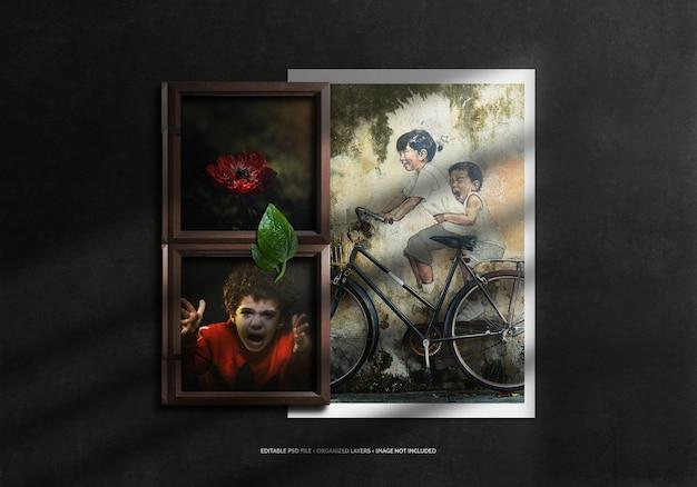 Cadre photo réaliste en bois et papier avec de bons souvenirs