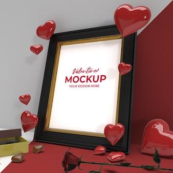 Cadre photo romantique 3d de la saint-valentin avec maquette d'ornement de fleur de chocolat et de coeur