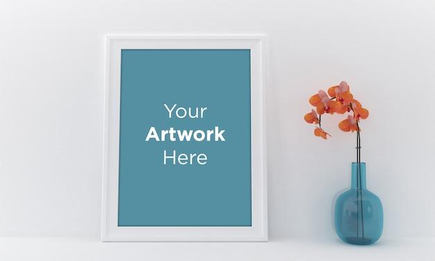 Cadre photo vide arrangement intérieur fleur dans un vase