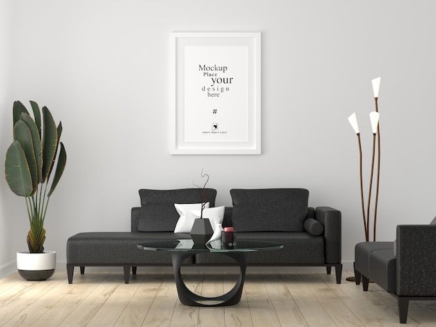 Cadre photo vide maquette dans le salon