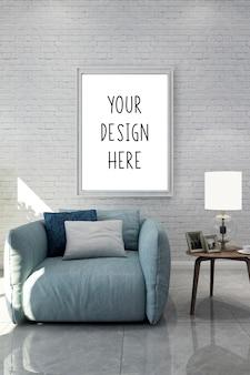 Cadre de photo vierge maquette dans le salon moderne
