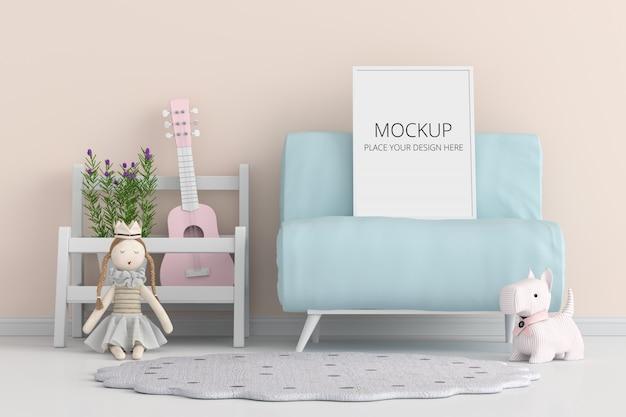 Cadre photo vierge pour maquette sur canapé bleu