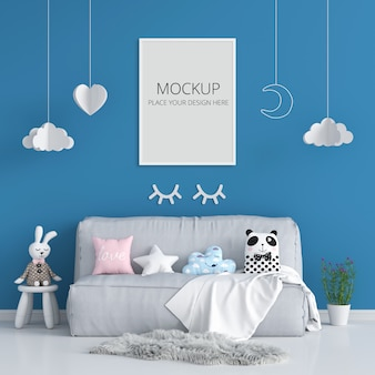 Cadre photo vierge pour maquette dans la chambre d'enfant bleu