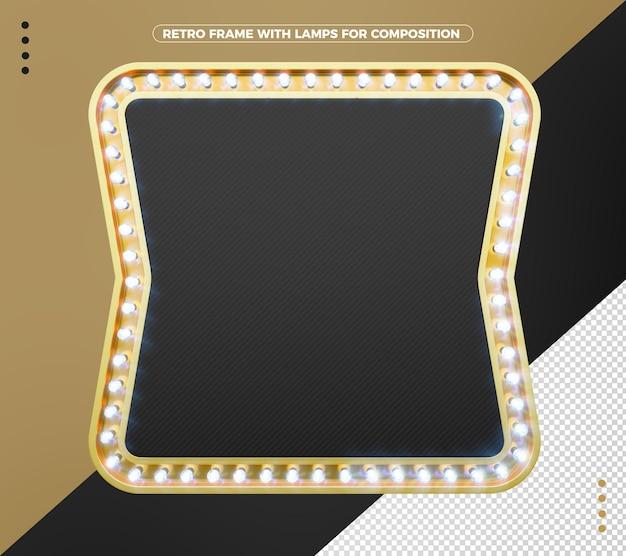 Cadre rétro led noir avec or vintage pour la composition
