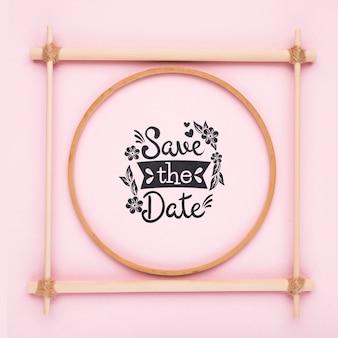 Cadre rose minimaliste enregistrer la maquette de date
