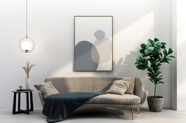 Cadre de salon intérieur et conception de maquette de fauteuil en 3d