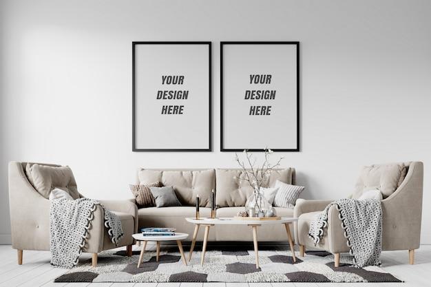 Cadre de salon intérieur moderne et maquette de mur