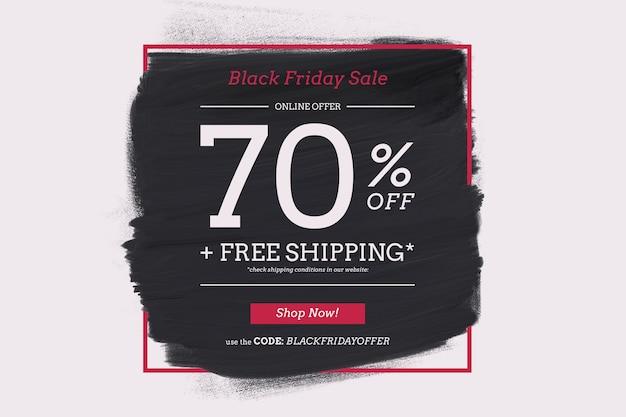 Cadre de vente vendredi noir avec forme de peinture noire