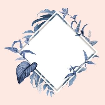 Cadre vide avec motif de feuilles bleues