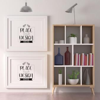Cadres d'affiche dans la maquette du salon