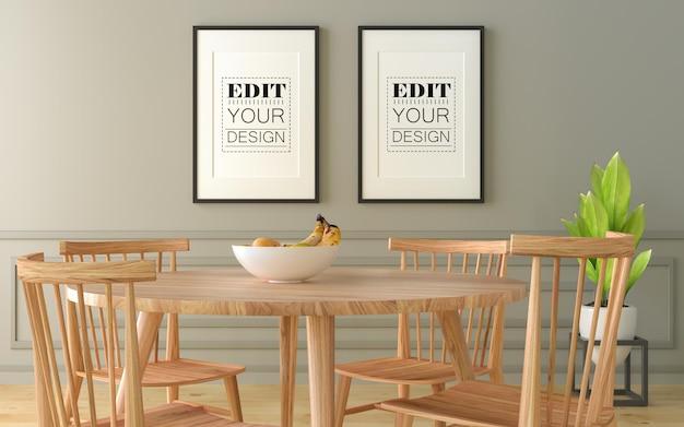 Cadres d'affiche dans la maquette de la salle à manger