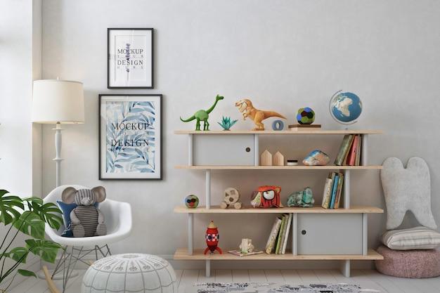 Cadres d'affiche de maquette dans la salle de jeux blanche
