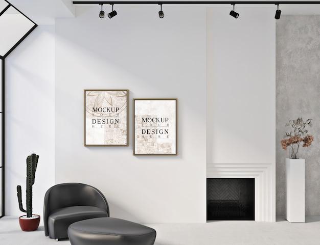 Cadres de maquette dans un intérieur blanc moderne avec fauteuil et siège ottoman