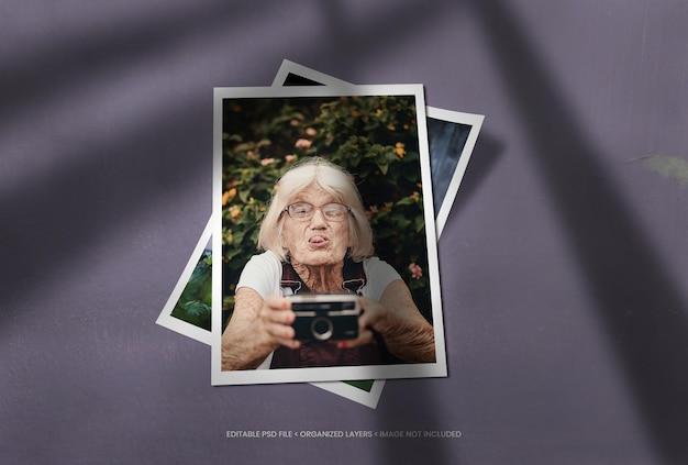Cadres photo de portrait avec superposition d'ombres réaliste