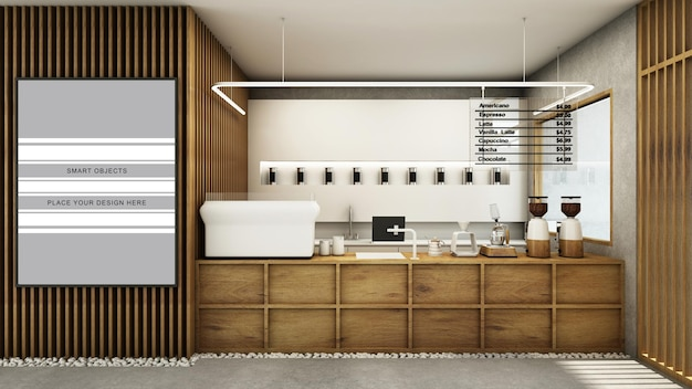 Café boutique restaurant design style japonais ton bois rendu 3d