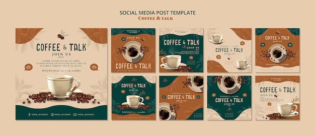 Café et discussion sur les médias sociaux