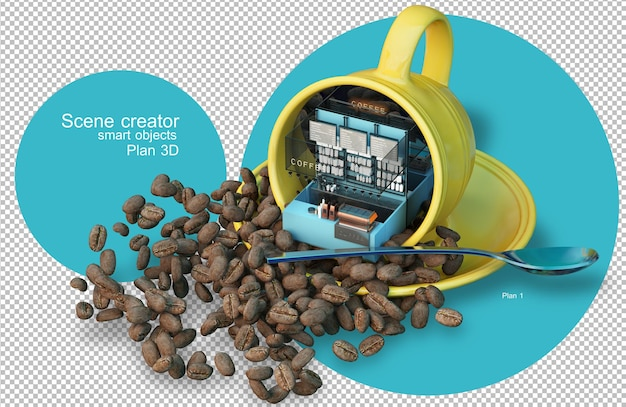 Café de rendu 3d et éléments de grains de café