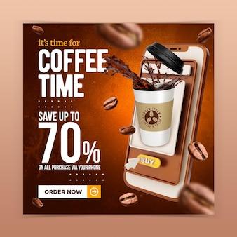 Café-restaurant boisson menu promotion médias sociaux modèle de bannière post instagram