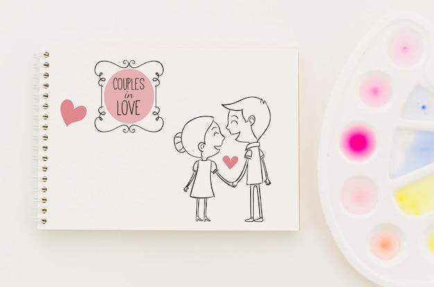 Cahier avec concept de l'amour dessiner