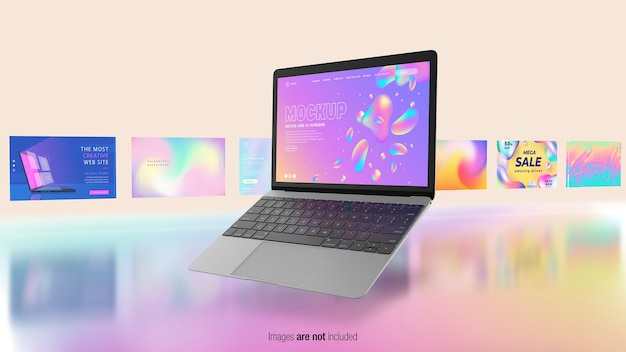 Cahier flottant avec écrans d'interface utilisateur