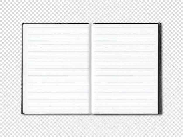 Cahier ligné ouvert blanc isolé sur blanc