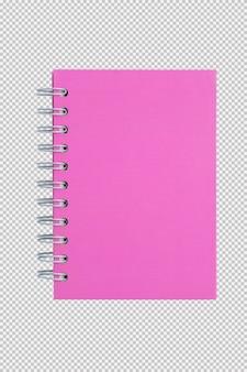 Cahier rose isolé sur fond blanc
