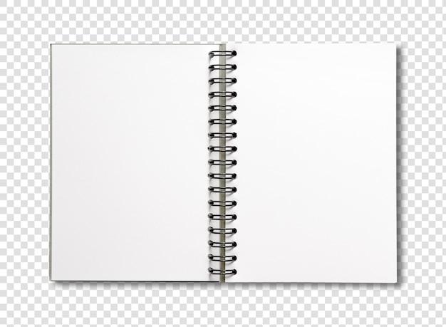Cahier à spirale ouvert blanc isolé sur blanc