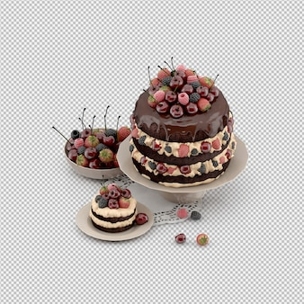 Cake 3d rendu isolé