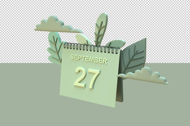 Calendrier 3d 27 septembre avec ornements de feuilles et de nuages avec concept d'automne