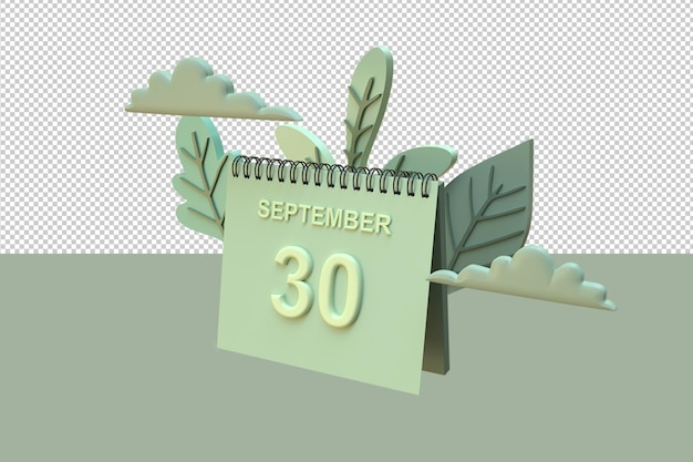Calendrier 3d 30 septembre avec des ornements de feuilles et de nuages avec le concept d'automne