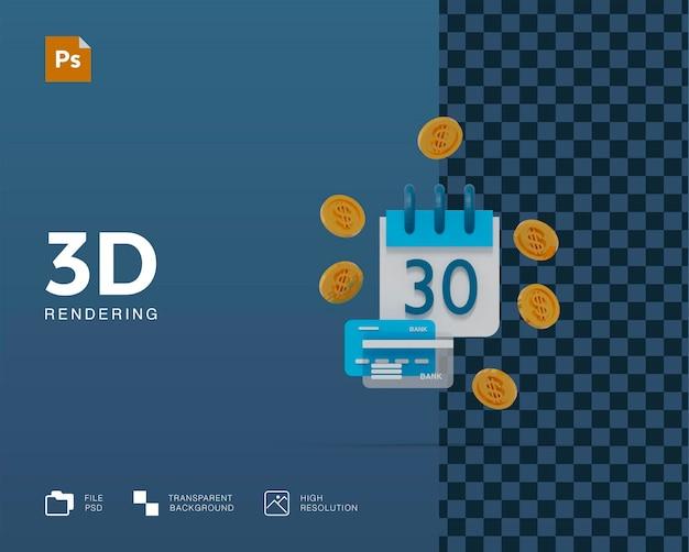Calendrier 3d et pièces d'or dépôt bancaire d'épargne d'investissement financier
