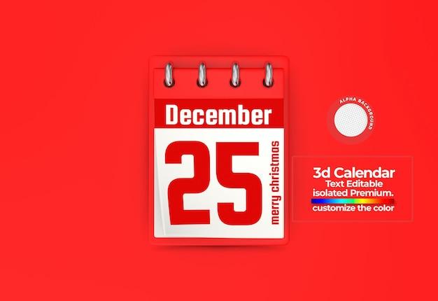 Calendrier 3d pour les dates commémoratives psd premium
