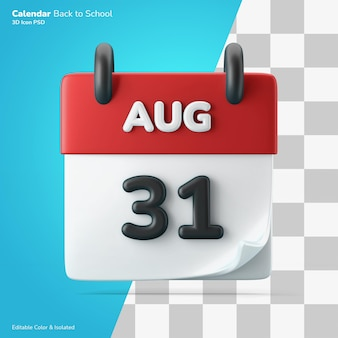 Calendrier heure date calendrier symbole 3d icône rendu modifiable couleur isolé