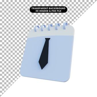 Calendrier d'illustration 3d avec cravate